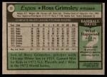 1979 Topps #15  Ross Grimsley  Back Thumbnail