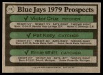1979 Topps #714   -  Victor Cruz / Pat Kelly / Ernie Whitt Blue Jays Prospects   Back Thumbnail