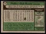 1979 Topps #90  Bob Boone  Back Thumbnail