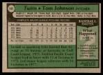 1979 Topps #162  Tom Johnson  Back Thumbnail