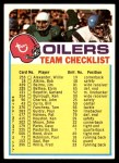 1973 Topps  Checklist   Oilers Front Thumbnail