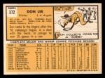 1963 Topps #372 COR Don Lee  Back Thumbnail