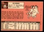 1969 Topps #43  Joe Niekro  Back Thumbnail