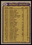1979 Topps #76   Patriots Leaders Checklist Back Thumbnail