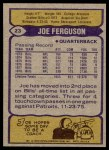 1979 Topps #23  Joe Ferguson  Back Thumbnail
