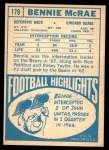 1968 Topps #179  Bennie McRae  Back Thumbnail