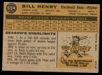 1960 Topps #524  Bill Henry  Back Thumbnail