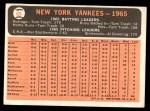 1966 Topps #92   Yankees Team Back Thumbnail