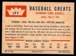 1960 Fleer #71  Earl Averill  Back Thumbnail