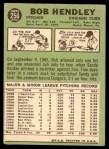 1967 Topps #256  Bob Hendley  Back Thumbnail
