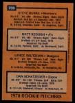 1978 Topps #709   -  Steve Burke / Matt Keough / Lance Rautzhan / Dan Schatzeder Rookie Pitchers   Back Thumbnail