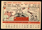 1956 Topps #70  Jim Rivera  Back Thumbnail