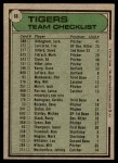 1979 Topps #66   -  Less Moss  Tigers Team Checklist Back Thumbnail