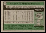 1979 Topps #45  Al Hrabosky  Back Thumbnail