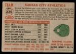 1956 Topps #236   Athletics Team Back Thumbnail