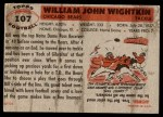 1956 Topps #107  Bill Wightkin  Back Thumbnail