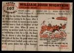 1956 Topps #107  Bill Wightkin  Back Thumbnail