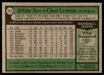 1979 Topps #333  Chet Lemon  Back Thumbnail