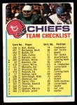 1973 Topps  Checklist   Chiefs Front Thumbnail