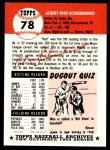 1953 Topps Archives #78  Red Schoendienst  Back Thumbnail