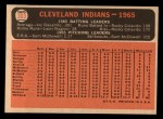 1966 Topps #303 ^DOT^  Indians Team Back Thumbnail