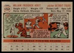 1956 Topps #152 GRY Billy Hoeft  Back Thumbnail
