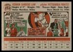1956 Topps #252  Vern Law  Back Thumbnail