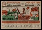 1956 Topps #338  Jim Delsing  Back Thumbnail