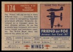 1952 Topps Wings #174   Percival P.50 Prince Transport Back Thumbnail