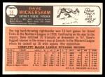 1966 Topps #58  Dave Wickersham  Back Thumbnail