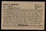 1952 Bowman Small #14  Paul Brown  Back Thumbnail
