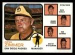 1973 Topps #12 ORG  -  Don Zimmer / Dave Garcia / Johnny Podres / Bob Skinner / Whitey Wietelmann Padres Leaders Front Thumbnail