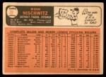 1966 Topps #38  Ron Nischwitz  Back Thumbnail