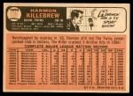 1966 Topps #120  Harmon Killebrew  Back Thumbnail