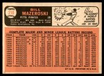 1966 Topps #210  Bill Mazeroski  Back Thumbnail