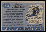 1955 Topps #63  Charlie Justice  Back Thumbnail