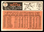 1966 Topps #208  Bob Miller  Back Thumbnail