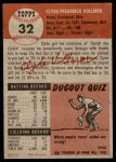 1953 Topps #32  Clyde Vollmer  Back Thumbnail