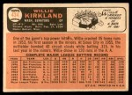 1966 Topps #434  Willie Kirkland  Back Thumbnail