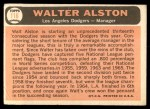 1966 Topps #116  Walter Alston  Back Thumbnail