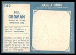 1961 Topps #142  Bill Groman  Back Thumbnail