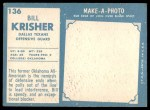 1961 Topps #136  Bill Krisher  Back Thumbnail