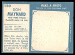 1961 Topps #150  Don Maynard  Back Thumbnail