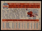 1957 Topps #296  Johnny Klippstein  Back Thumbnail