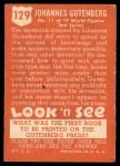 1952 Topps Look 'N See #129  Johannes Gutenberg  Back Thumbnail