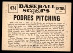1961 Nu-Card Scoops #474   -  Johnny Podres Podres Pitching Wins Series Back Thumbnail
