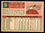 1959 Topps #30  Nellie Fox  Back Thumbnail