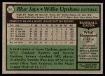 1979 Topps #341  Willie Upshaw  Back Thumbnail