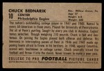 1952 Bowman Small #10  Chuck Bednarik  Back Thumbnail