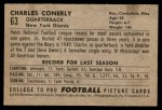 1952 Bowman Small #63  Charley Conerly  Back Thumbnail